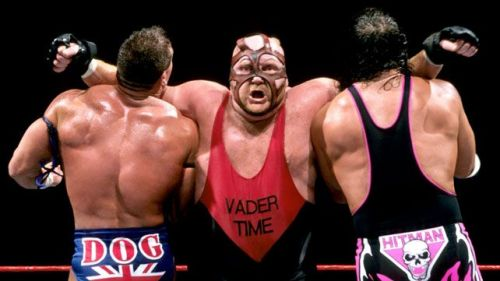 Vader takes down two legends at one time (Hit Man, British Bulldog.)