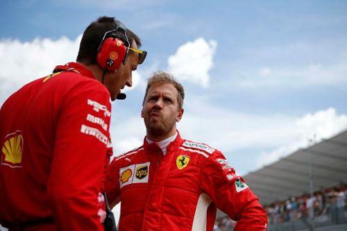 Sebastian Vettel of Germany  and  Scuderia Ferrari on the...
