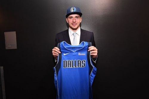 Luka Doncic with a Dallas Mavericks' jersey