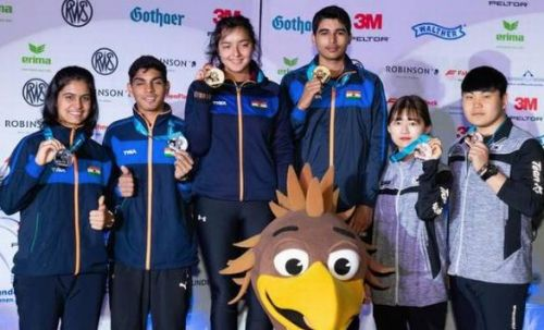 Devanshi Rana and Saurabh Chaudhary (center) won gold while Manu Bhaker and Anmol Jain (left) won silver in the 10m air pistol mixed team event