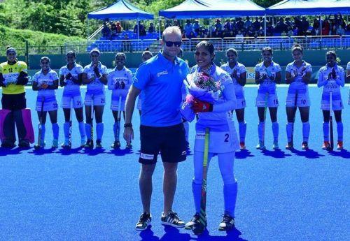 Gurjit Kaur earned her 50th international cap against Korea at Donghae