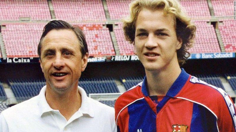 Johan and Jordi Cruyff in the Camp Nou