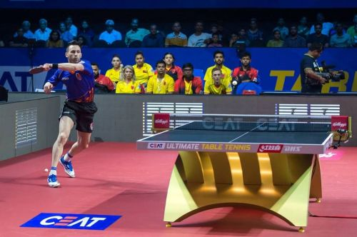 João Monteiro in action during Maharashtra United vs Falcons TTC on Day 1 of Ultimate Table Tennis Season 2 (Image credits - Maharashtra United FB page)