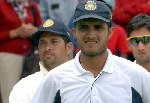 India Captain Sourav Ganguly (FRONT) and Sachin Ta