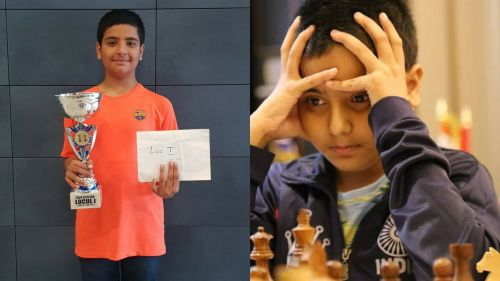 L - Raunak gets clicked with one of his trophies, R - Raunak thinks hard during a game