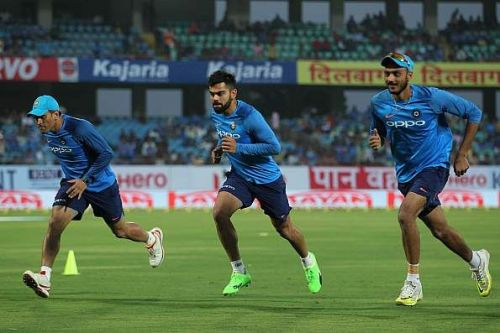 Virat Kohli taking the yo-yo tests. He reportedly clocked the 21-mark when just 16.1 was needed to pass
