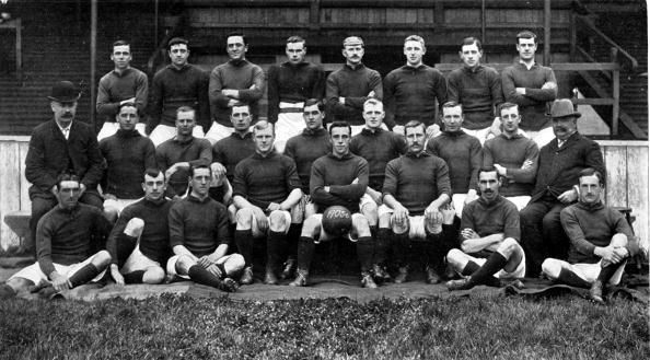 Sport, Football, 1905-1906, The Liverpool F,C, team pose together for a group photograph, Back row, L-R: J,Carlin, A,West, C,Wilson, S,Hanly, E,Doig, W,Dunlop, D,Murray, J,Hewitt, Middle row, L-R: W,Connell, (Trainer), Jas,Hughes, G,Latham, John Hughes, W