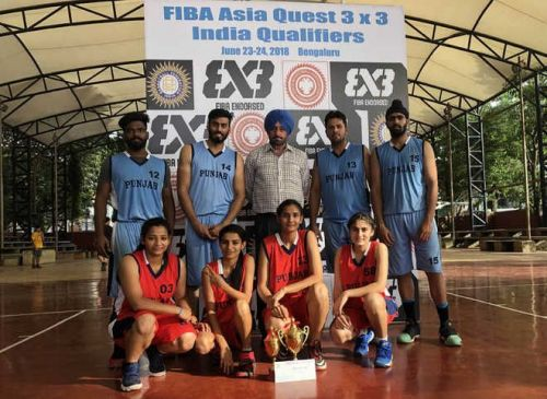Ludhiana Players with Coach at the FIBA 3x3 Quest - India Qualifiers