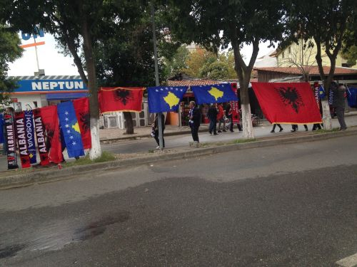 Kosovo and Albania flags