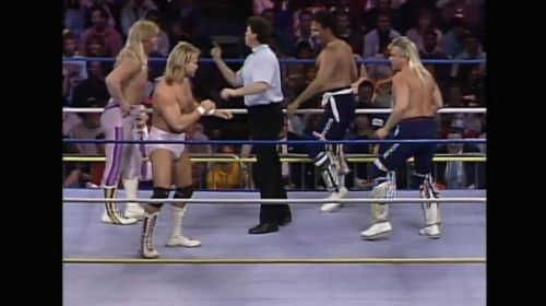 The Midnight Express (with Jim Cornette) prepare to do battle with the Rock and Roll Express.