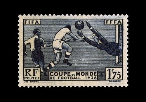 Postage stamp commemorating 1938 FIFA World Cup
