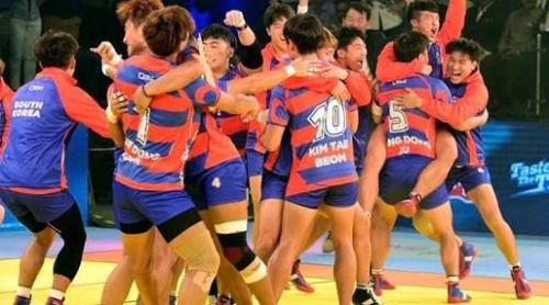South Korea celebrating after winning against team India in the opening match of 2016 KWC