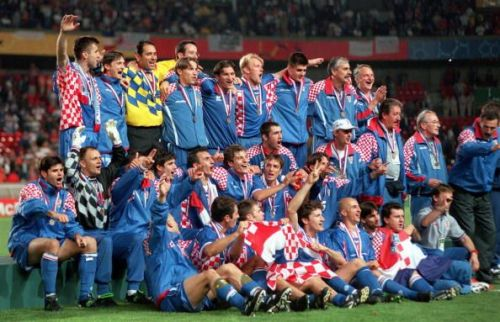 1998 World Cup Finals. St. Denis, France. 11th July, 1998. Third Place Play-Off. Croatia 2 v Holland 1. Croatia celebrate third place in their first ever World Cup.