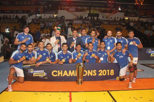 The Kabaddi Masters winning Indian Kabaddi Team. Monu Goyat (extreme bottom left)