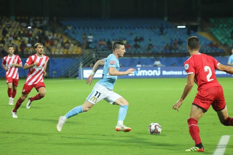 Action from the match between Girona FC and Melbourne City FC