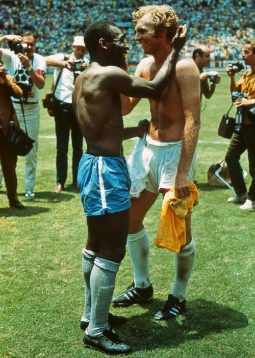 Probably the greatest football picture ever taken, this 1970 shot of Pele (left) and Bobby Moore exchanging shirts after England's defeat to Brazil, perfectly captures what football is, and what it should be. Credit: John Varley