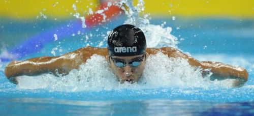 Virdhawal Khade of India competes in the