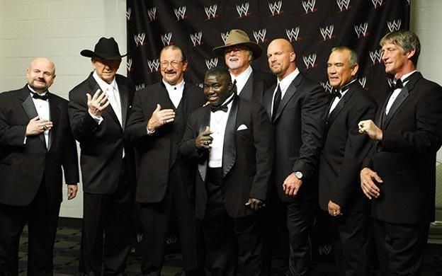 From left to right: Howard Finkel, Dory Funk Jr., Terry Funk, Koko B.Ware,