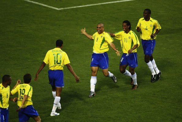Ronaldo of Brazil celebrates