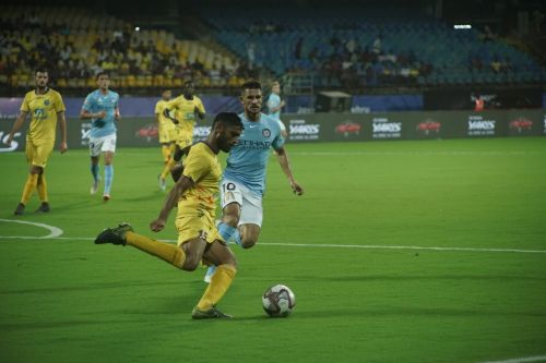 Anas Edathodika clears the ball during Kerala Balsters' match against Melbourne City FC