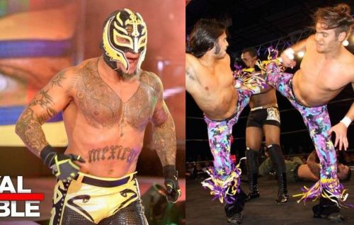Former WWE Champion Rey Mysterio (left) and The Young Bucks (right) are