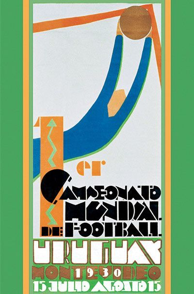 Official poster of the 1930 Football World Cup designed by Guillermo Laborde (1886-1940)