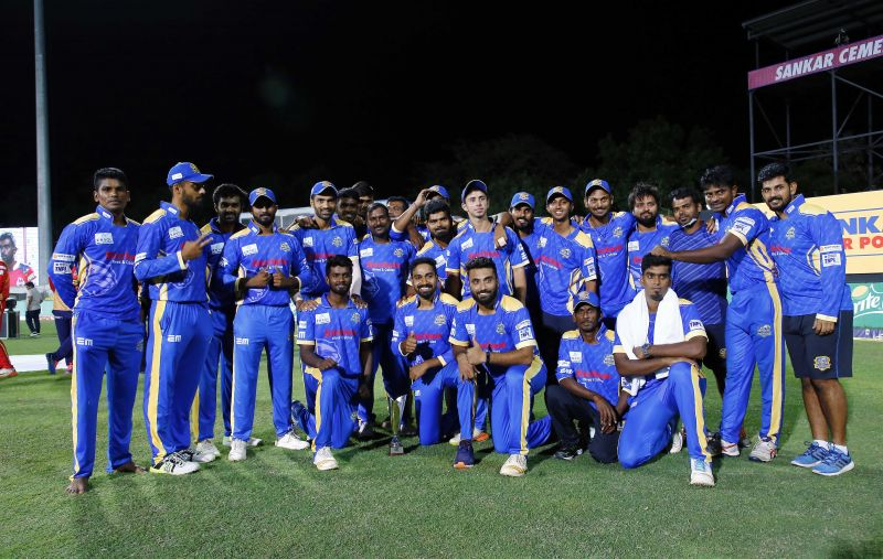 A happy lot after winning their first-ever match in TNPL