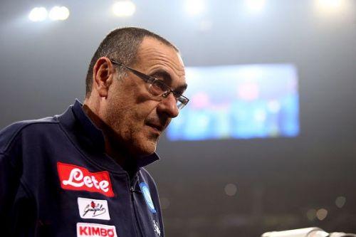 Maurizio Sarri, head coach of Ssc Napoli, looks on before...