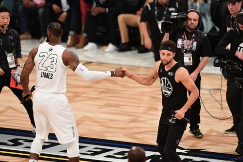 Steph Curry and Lebron James at the NBA All-Star Game 2018