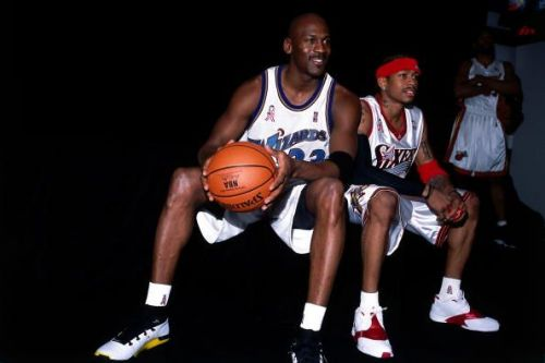 Jordan and Iverson pose for a portrait