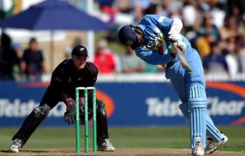 India batsman Javagal Srinath hits the ball as New