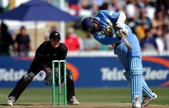 India batsman Javagal Srinath hits the ball as New