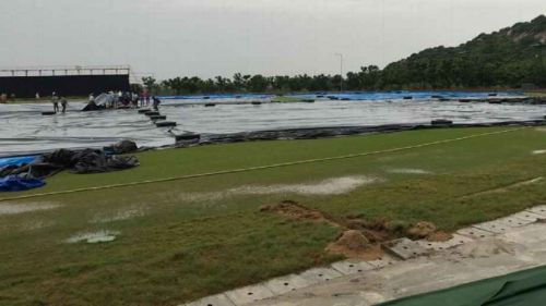 It is raining heavily at Vijayawada, and no play was possible in the last two days - Photo by ESPN