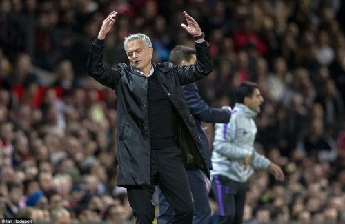 Jose Mourinho at the touchline against Tottenham Hotspur.