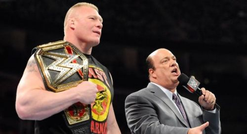 Paul Heyman with Brock Lesnar during his title reign