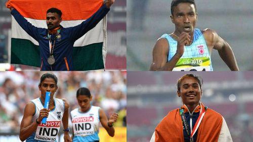India's India's Mixed Relay team of Muhammed Anas Yahiya, Rajiv Arokia, Hima Das, and MR Poovamma (clockwise)