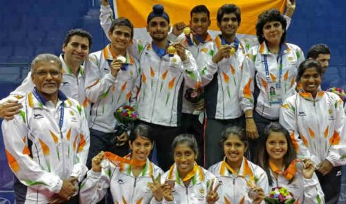 The Indian squash team pose after the 2014 Asian Games