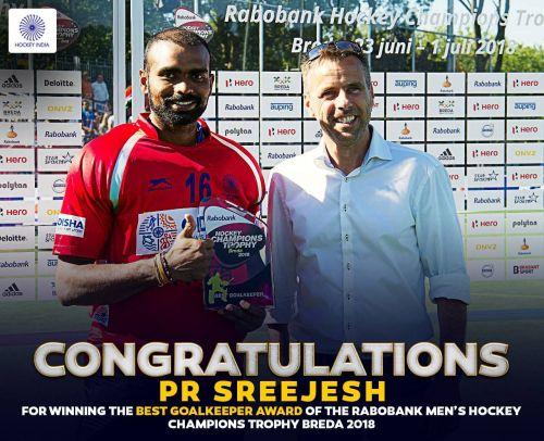 Sreejesh wins the Best GoalKeeper award in the 37th edition of Champions Trophy