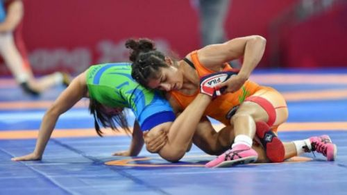 Vinesh Phogat in action during the 2018 Asian Games
