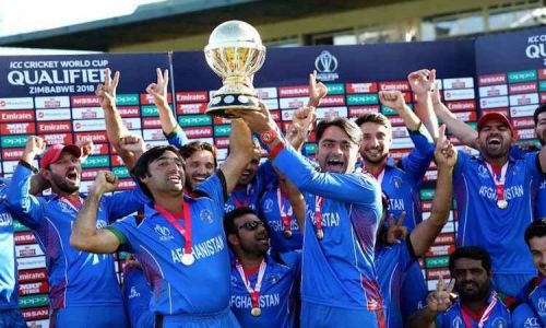 Afghanistan after winning the 2018 ICC Cricket World Cup qualifier in Zimbabwe