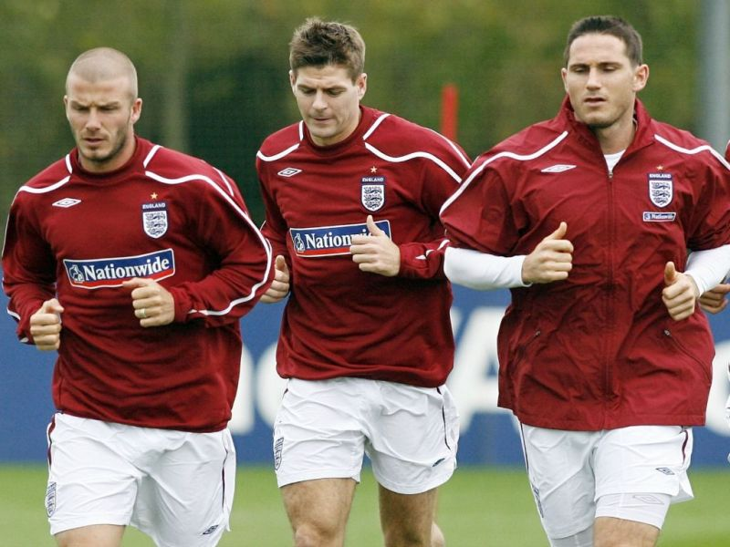 L to R - Beckham, Gerrard, and Lampard were three of the Premier League