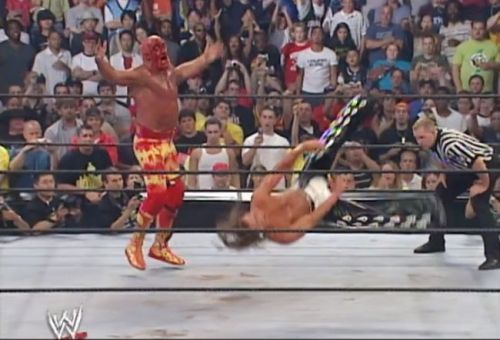 Shawn Michaels flopped around the ring at SummerSlam 2005.