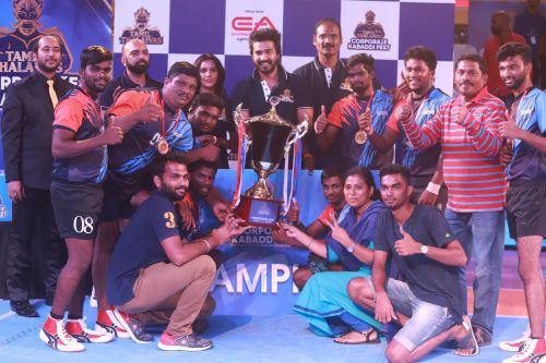 Enter captionWinners of the men's championship at the Tamil Thalaivas Corporate Kabaddi Fest, Salcomp, with the Chief Motivating Officers, Vishnu Vishal and Priya Anand