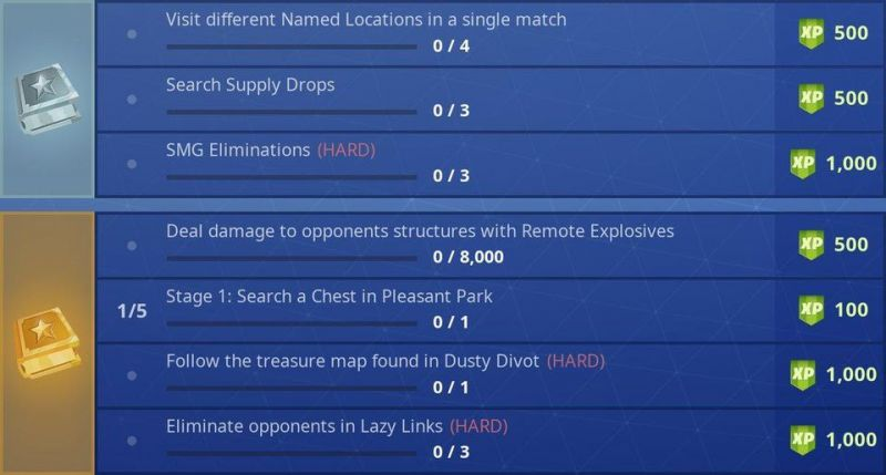 Fortnite Challenges Season 5 Week 7 Challenges