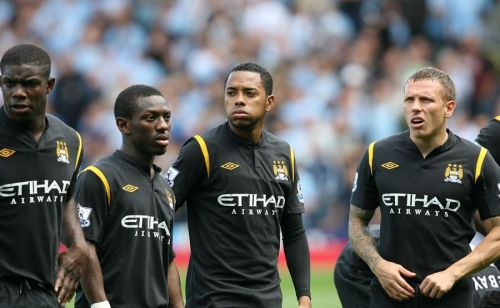 L to R - Micah Ricards, Shaun Wright-Phillips, Robinho and Craig Bellamy