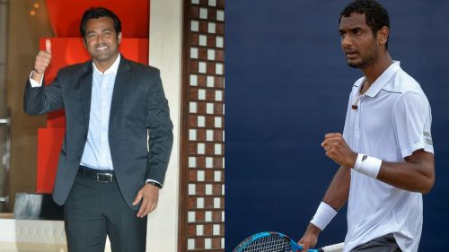 Leander Paes (L) and Ramkumar Ramanathan (R)