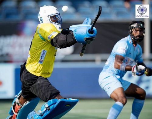 Goalkeeper Sreejesh in action during Champions Trophy 2018 match