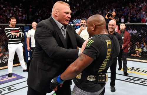 Ken Shamrock had words of high praise for former WWE Universal Champion Brock Lesnar (left) as well as Daniel Cormier (right)