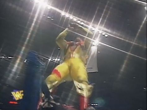 Here we see an egg-yolk jumping off the top-rope