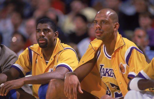 Magic Johnson and Kareem Abdul-Jabbar